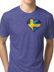 Swedish Flag - Sweden - Heart Tri-blend T-Shirt