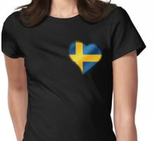 Swedish Flag - Sweden - Heart Womens Fitted T-Shirt