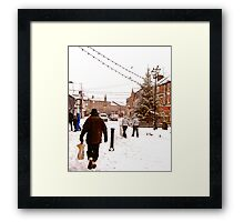 Ormskirk Town Centre - Snowing Framed Print