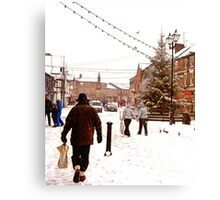 Ormskirk Town Centre - Snowing Canvas Print