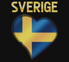 Sverige - Swedish Flag Heart & Text - Metallic One Piece - Long Sleeve