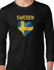 Sweden - Swedish Flag Heart & Text - Metallic Long Sleeve T-Shirt