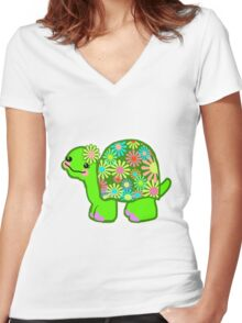 Kawaii Turtle Girl with retro flowers - Women's Fitted V-Neck T-Shirt