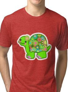 Kawaii Turtle Girl with retro flowers - Tri-blend T-Shirt