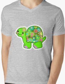 Kawaii Turtle Girl with retro flowers - Mens V-Neck T-Shirt