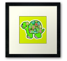 Kawaii Turtle Girl with retro flowers - Framed Print