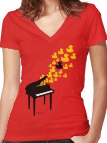 Duck Music Women's Fitted V-Neck T-Shirt