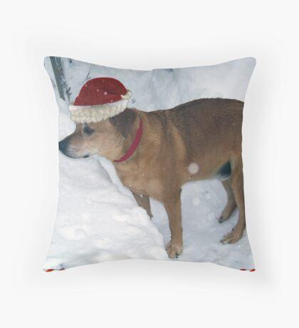 Rusty The Christmas Dog Throw Pillow