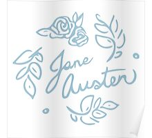Jane Austen Floral Print Poster
