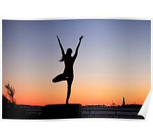 Tree pose silhouette in front of the Statue of Liberty, New York Poster