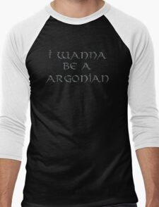 Argonian Text Only Men's Baseball ¾ T-Shirt
