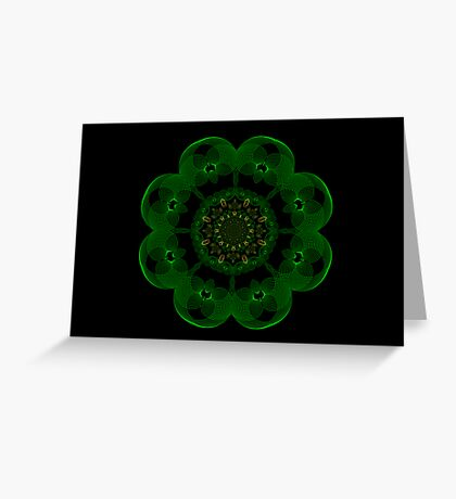 Green and Gold Holiday Spirograph Greeting Card