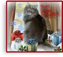 Happy Hanukkah Kitty Canvas Print