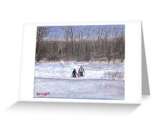 Christmas sledding in Wisconsin Greeting Card