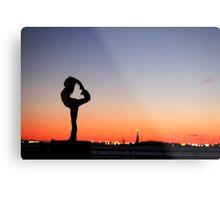 Yoga in New York silouette Metal Print