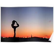 Yoga in New York silouette Poster