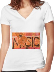 We Just Love Music T-Shirt Women's Fitted V-Neck T-Shirt