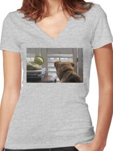 PATIENCE Women's Fitted V-Neck T-Shirt