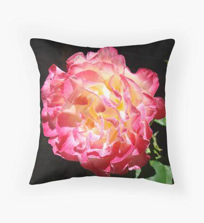 Rose Flower Art Print Big Pink Roses Floral Throw Pillow