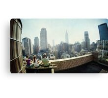 Yoga Meditation in a rooftop by the Empire State Building, New York City views Canvas Print