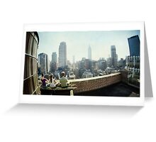 Yoga Meditation in a rooftop by the Empire State Building, New York City views Greeting Card