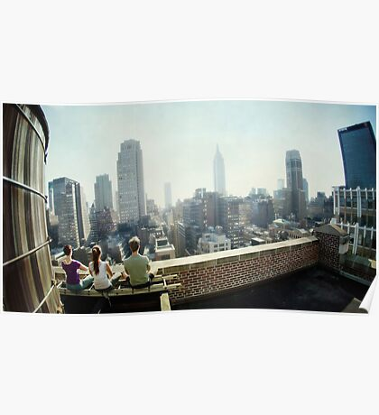 Yoga Meditation in a rooftop by the Empire State Building, New York City views Poster