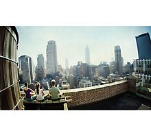 Yoga Meditation in a rooftop by the Empire State Building, New York City views Photographic Print