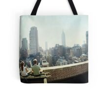 Yoga Meditation in a rooftop by the Empire State Building, New York City views Tote Bag