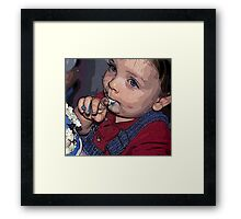 BIRTHDAY BOY LICKING FROSTING Framed Print