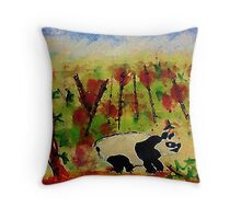 Grumpy Panda, watercolor Throw Pillow