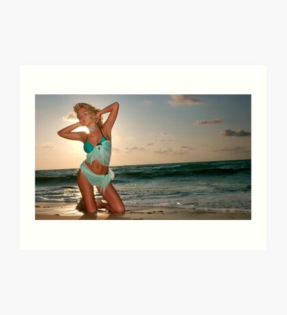 Young beautiful women on the sunny tropical beach Art Print