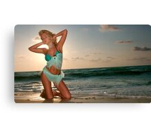 Young beautiful women on the sunny tropical beach Canvas Print