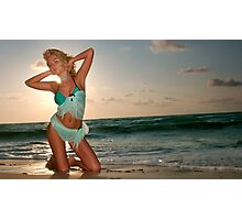 Young beautiful women on the sunny tropical beach Photographic Print