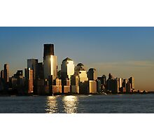 A sunset view of the downtown Manhattan skyline Photographic Print