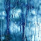 Heavy rain drops on blue window  by Anton Oparin
