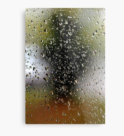 Abstract rain drops at garden window.  Metal Print