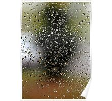 Abstract rain drops at garden window.  Poster