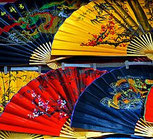 Colourful Fans at the popular Ladies Market, Hong Kong. by Ralph de Zilva