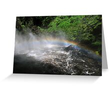 Bushkill waterfall with full spring water and rainbow  Greeting Card