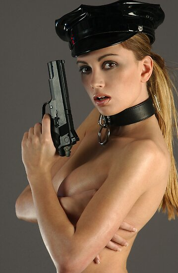 Sexy naked woman with gun by Anton Oparin