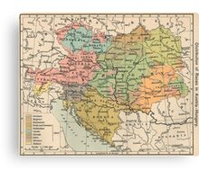 Vintage Map of Austria and Hungary (1911) Canvas Print