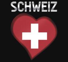 Schweiz - Swiss Flag Heart & Text - Metallic One Piece - Short Sleeve