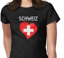 Schweiz - Swiss Flag Heart & Text - Metallic Womens Fitted T-Shirt