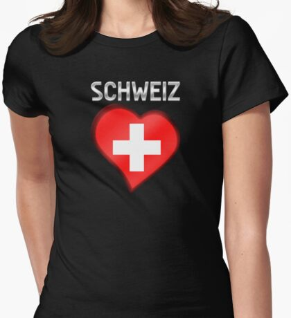 Schweiz - Swiss Flag Heart & Text - Metallic Womens Fitted T-Shirt