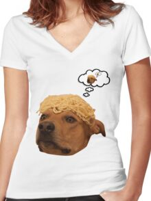 Spaghetti is Dog Women's Fitted V-Neck T-Shirt