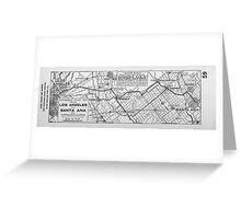 Vintage Los Angeles to Santa Ana Road Map (1921) Greeting Card