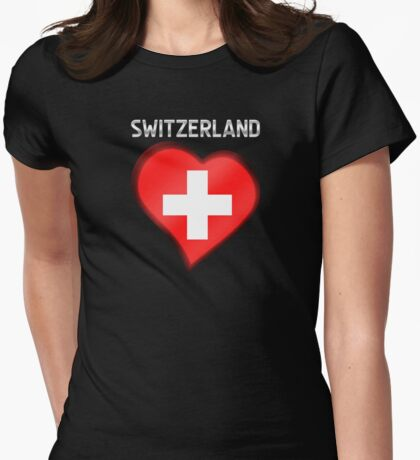 Switzerland - Swiss Flag Heart & Text - Metallic Womens Fitted T-Shirt