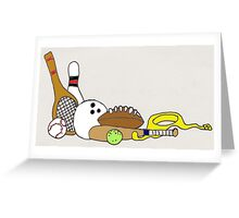 SPORTS EQUIPMENT ON WHITE Greeting Card