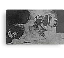 ST. BERNARD WITH HIS HUMAN Metal Print