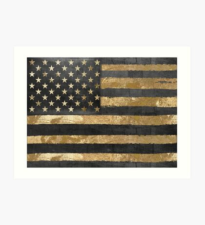 American Flag Gold and Black  Art Print